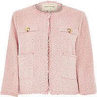 Pink boxy boucle jacket