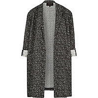 Black jacquard longline duster jacket