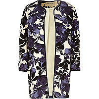 Navy floral print jacquard collarless jacket