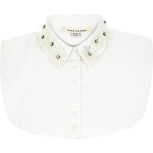 White 3D embellished collar bib