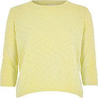 Yellow textured stitch 3/4 sleeve top