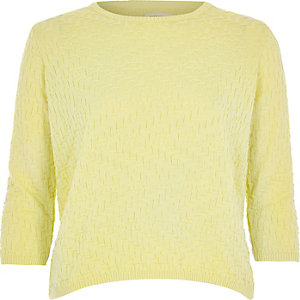 Yellow textured stitch 3/4 sleeve top