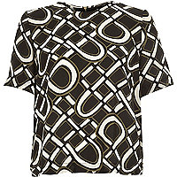 Khaki 60s print t-shirt