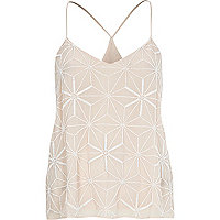 Pink bead embellished strappy cami top