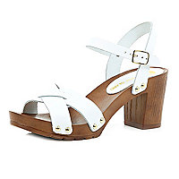White leather wooden heel clog sandals
