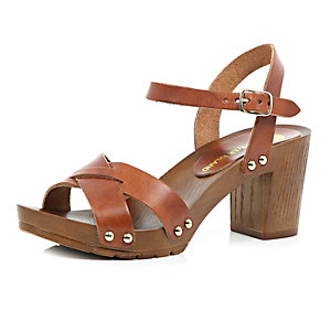 Brown leather wooden heel clog sandals