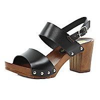 Black leather wooden heel clog sandals