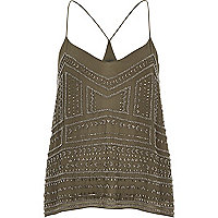 Khaki bead embellished cami top