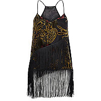 Black devoré fringed cami