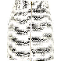 Cream boucle A-line zip front skirt