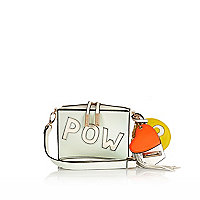 White wow pow print cross body bag