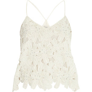 White lace beaded cami