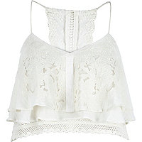 Cream embroidered frill front cropped cami