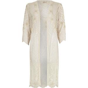 Cream longline embellished kimono