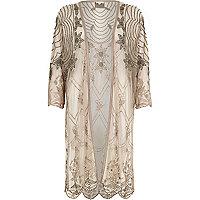 Beige longline embellished kimono