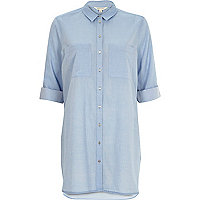 Blue chambray longline shirt