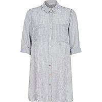 Grey stripe longline shirt