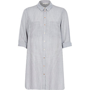 Grey stripe longline shirt