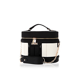 Black round make up vanity case