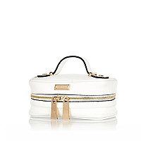 White zip jewellery case