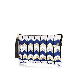 Blue zig zag embroidered clutch bag