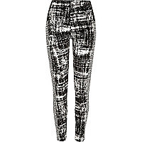 White flocked print leggings