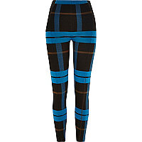 Blue check leggings