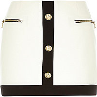 White gold button trim 60s mini skirt