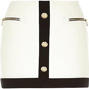 White gold button trim 60s mini skirt