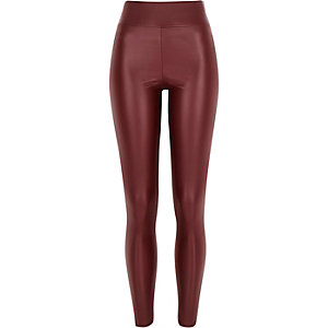 Red coated high waisted leggings