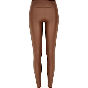 Tan coated high waisted leggings