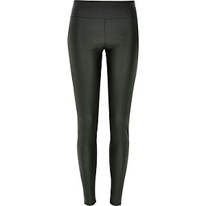 Khaki coated high waisted leggings