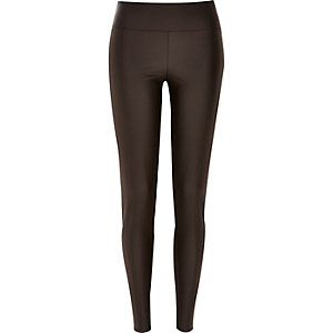 Dark brown coated high waisted leggings