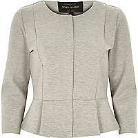 Grey collarless peplum jacket