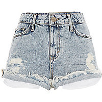 Light acid wash distressed denim shorts
