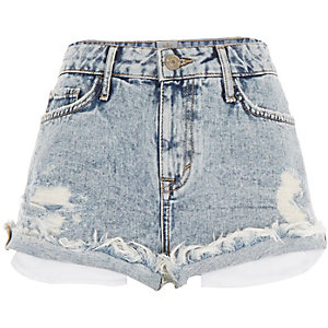 Light acid wash distressed Ruby denim shorts