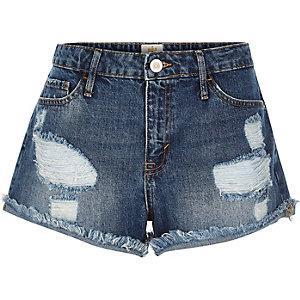 Mid wash distressed Ruby denim shorts
