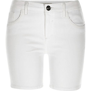 White Amelie denim shorts