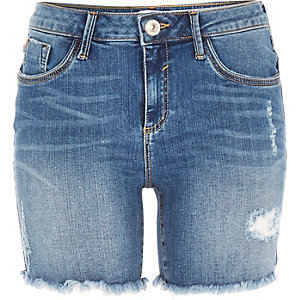 Mid wash distressed Amelie denim shorts