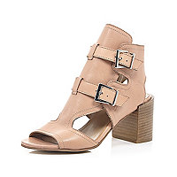 Nude leather buckle peep toe shoe boot
