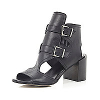 Black leather buckle shoe boot