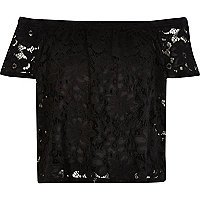 Black lace bardot top