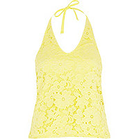 Yellow lace halter neck top