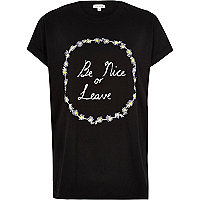 Black slogan daisy print oversized t-shirt