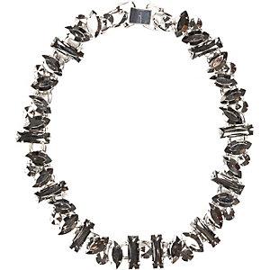 Black hematite chunky stone necklace