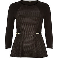 Black leather-look jersey peplum top