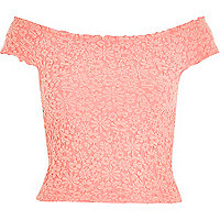 Pink textured floral bardot top