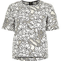 Grey floral print lace t-shirt