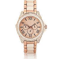 Rose gold tone glitter face diamante watch
