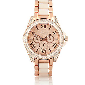 Rose gold tone glitter face diamante watch